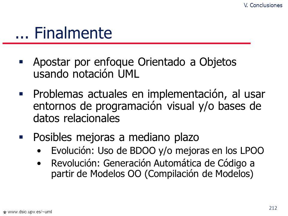 212 www.dsic.upv.es/~uml... Finalmente Apostar por enfoque Orientado a Objetos usando notación UML Problemas actuales en implementación, al usar entor