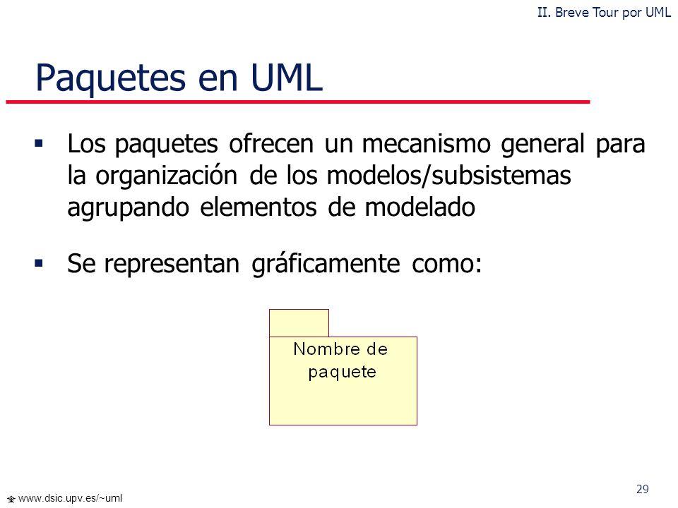 29 www.dsic.upv.es/~uml Paquetes en UML Los paquetes ofrecen un mecanismo general para la organización de los modelos/subsistemas agrupando elementos