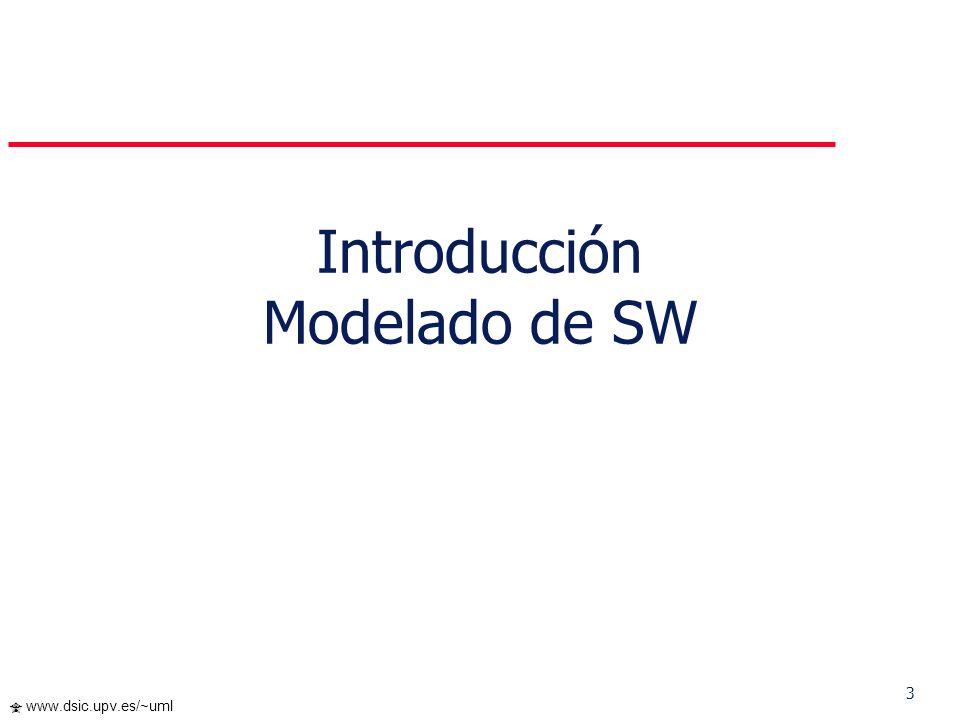 4 www.dsic.upv.es/~uml Construcción de una casa para fido Puede hacerlo una sola persona Requiere: Modelado mínimo Proceso simple Herramientas simples I.