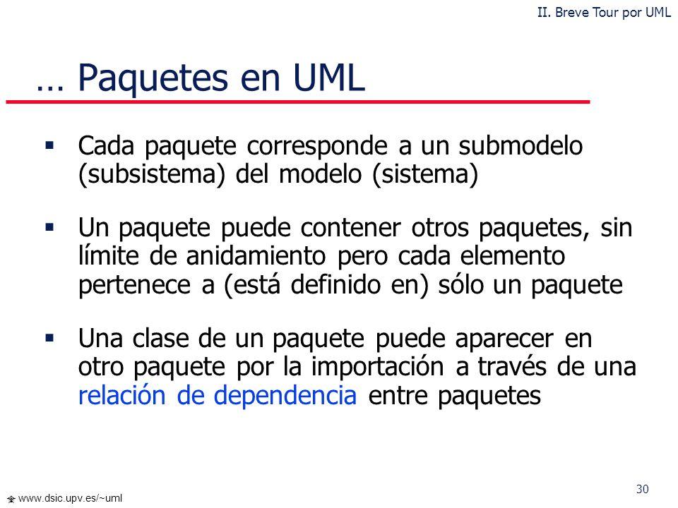 30 www.dsic.upv.es/~uml … Paquetes en UML Cada paquete corresponde a un submodelo (subsistema) del modelo (sistema) Un paquete puede contener otros pa