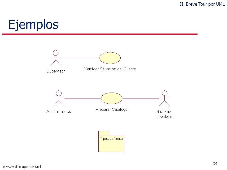 34 www.dsic.upv.es/~uml Ejemplos II. Breve Tour por UML