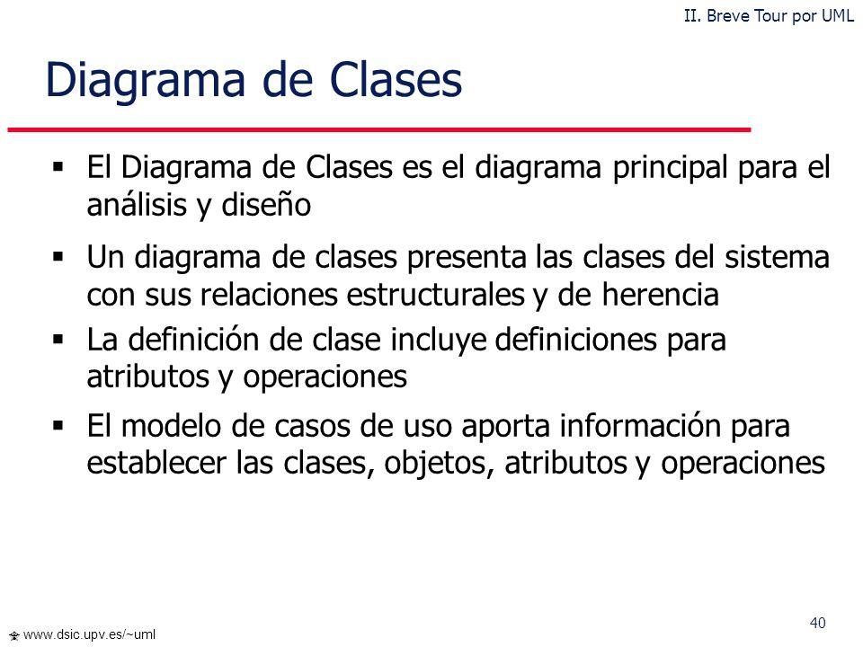 40 www.dsic.upv.es/~uml Diagrama de Clases El Diagrama de Clases es el diagrama principal para el análisis y diseño Un diagrama de clases presenta las
