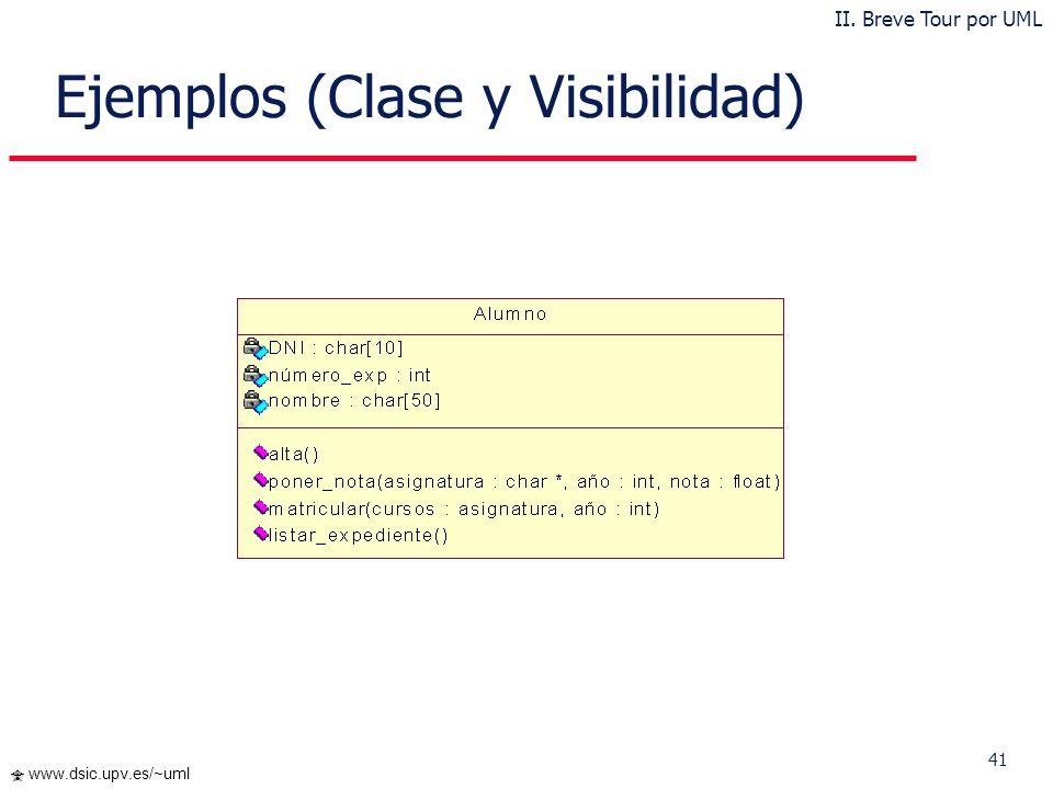 41 www.dsic.upv.es/~uml Ejemplos (Clase y Visibilidad) II. Breve Tour por UML