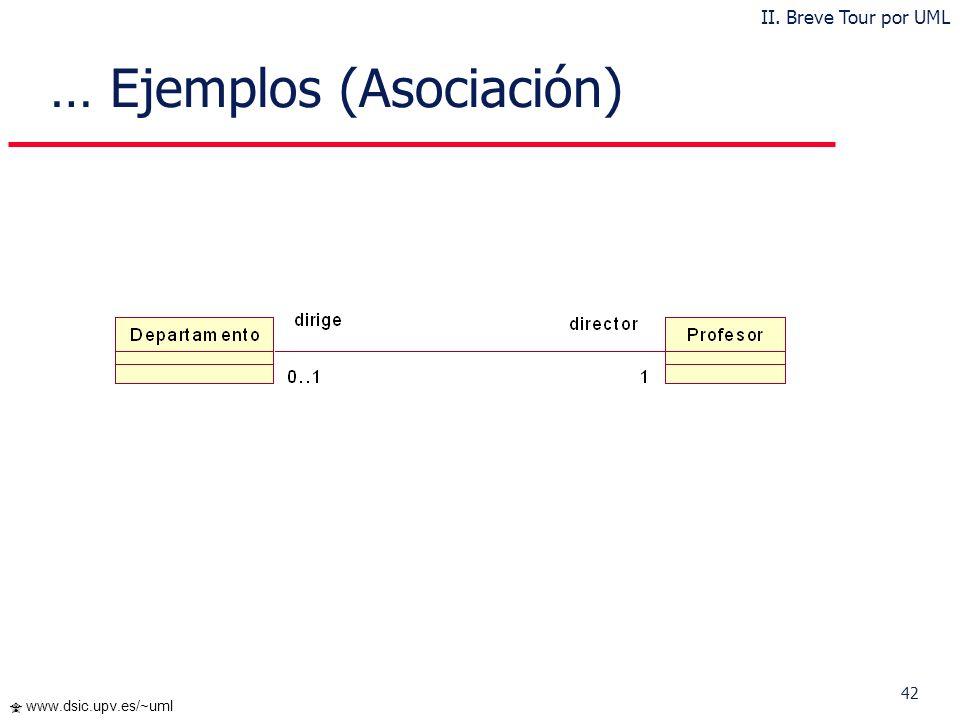 42 www.dsic.upv.es/~uml … Ejemplos (Asociación) II. Breve Tour por UML