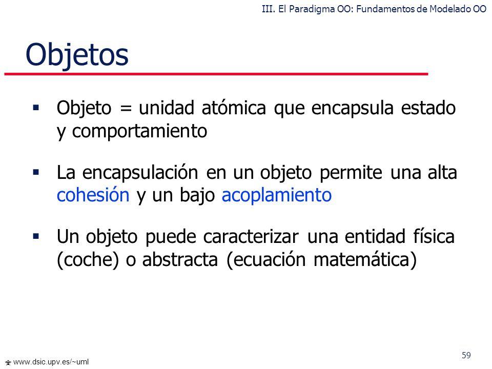 59 www.dsic.upv.es/~uml Objetos Objeto = unidad atómica que encapsula estado y comportamiento La encapsulación en un objeto permite una alta cohesión