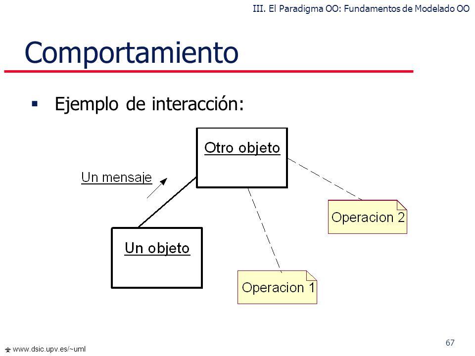 67 www.dsic.upv.es/~uml Comportamiento Ejemplo de interacción: III. El Paradigma OO: Fundamentos de Modelado OO