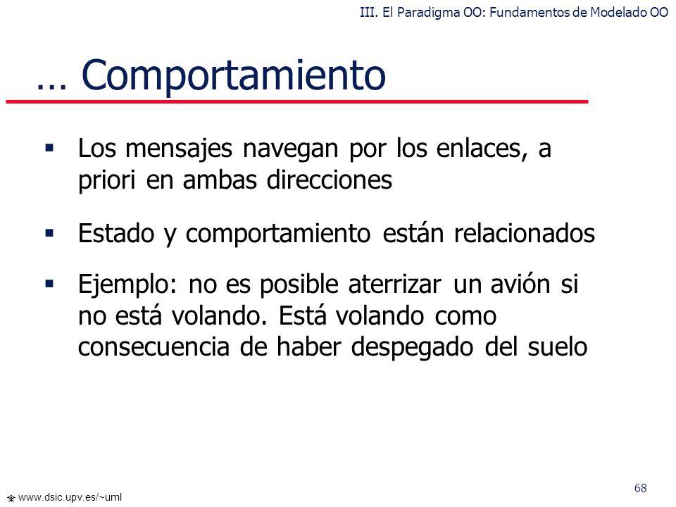 68 www.dsic.upv.es/~uml … Comportamiento Los mensajes navegan por los enlaces, a priori en ambas direcciones Estado y comportamiento están relacionado