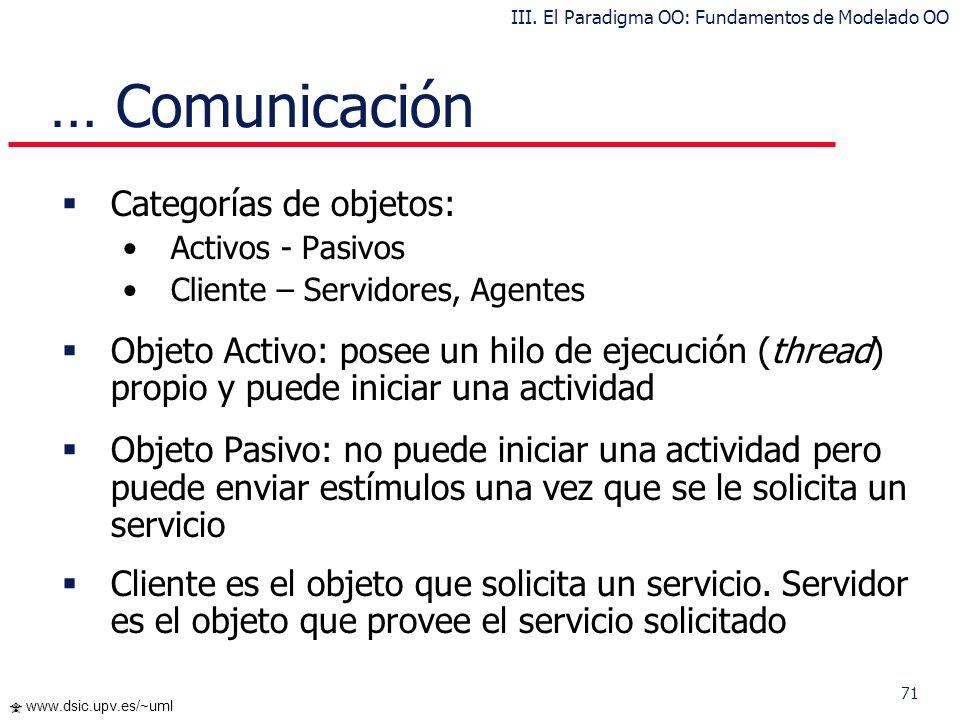 71 www.dsic.upv.es/~uml … Comunicación Categorías de objetos: Activos - Pasivos Cliente – Servidores, Agentes Objeto Activo: posee un hilo de ejecució