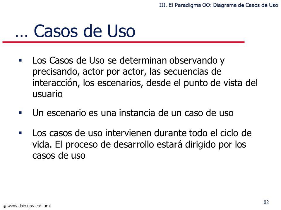 82 www.dsic.upv.es/~uml … Casos de Uso Los Casos de Uso se determinan observando y precisando, actor por actor, las secuencias de interacción, los esc