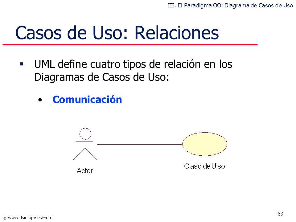 83 www.dsic.upv.es/~uml Casos de Uso: Relaciones UML define cuatro tipos de relación en los Diagramas de Casos de Uso: Comunicación III. El Paradigma