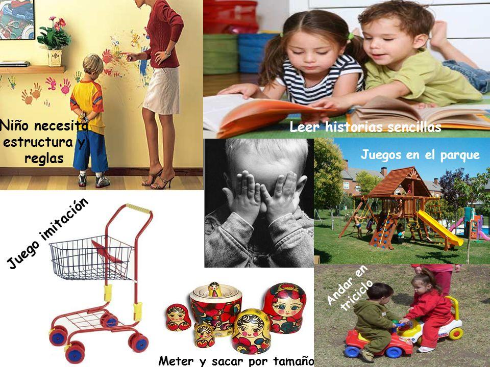 Niño necesita estructura y reglas Leer historias sencillas Juego imitación Meter y sacar por tamaño Juegos en el parque Andar en triciclo