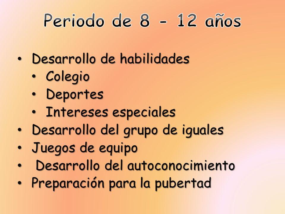 Desarrollo de habilidades Desarrollo de habilidades Colegio Colegio Deportes Deportes Intereses especiales Intereses especiales Desarrollo del grupo d