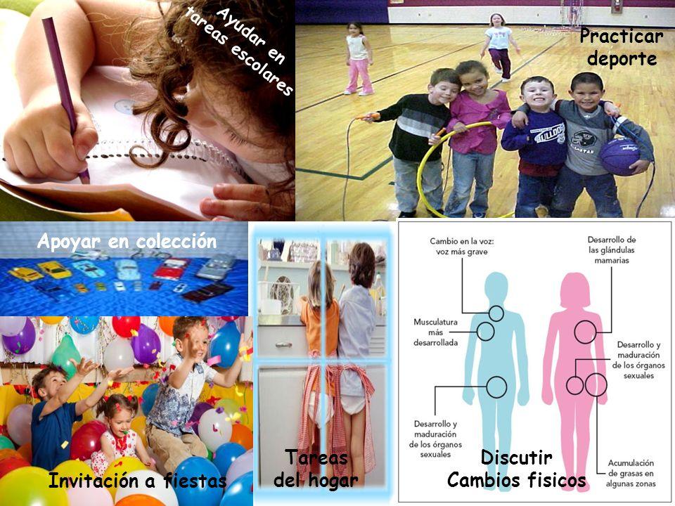 Ayudar en tareas escolares Practicar deporte Apoyar en colección Tareas del hogar Invitación a fiestas Discutir Cambios fisicos