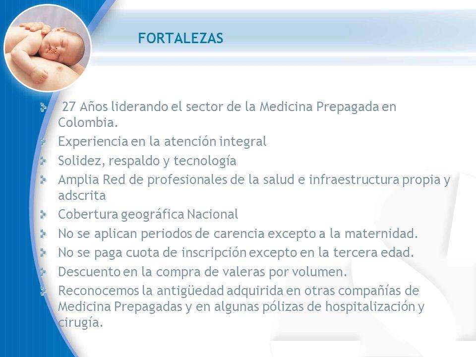 FORTALEZAS 27 Años liderando el sector de la Medicina Prepagada en Colombia. Experiencia en la atención integral Solidez, respaldo y tecnología Amplia