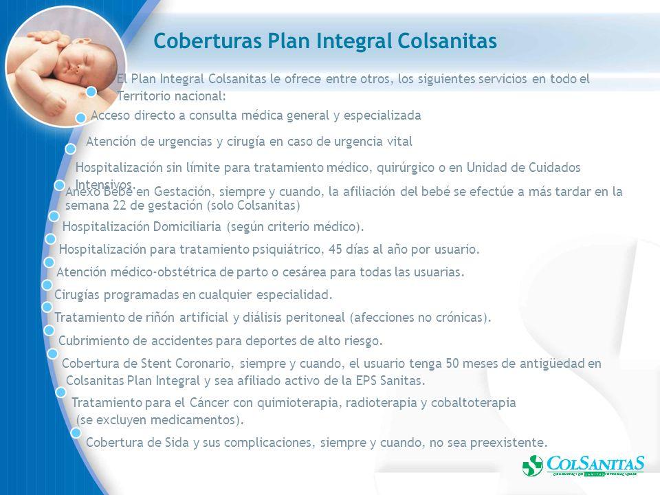 Coberturas Plan Integral Colsanitas Acceso directo a consulta médica general y especializada Atención de urgencias y cirugía en caso de urgencia vital