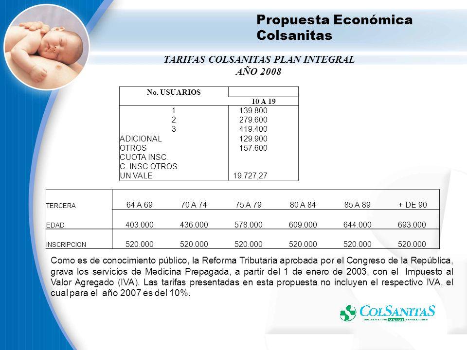 Propuesta Económica Medisanitas TARIFAS MEDISANITAS PLAN INTEGRAL 2008 Como es de conocimiento público, la Reforma Tributaria aprobada por el Congreso de la República, grava los servicios de Medicina Prepagada, a partir del 1 de enero de 2003, con el Impuesto al Valor Agregado (IVA).