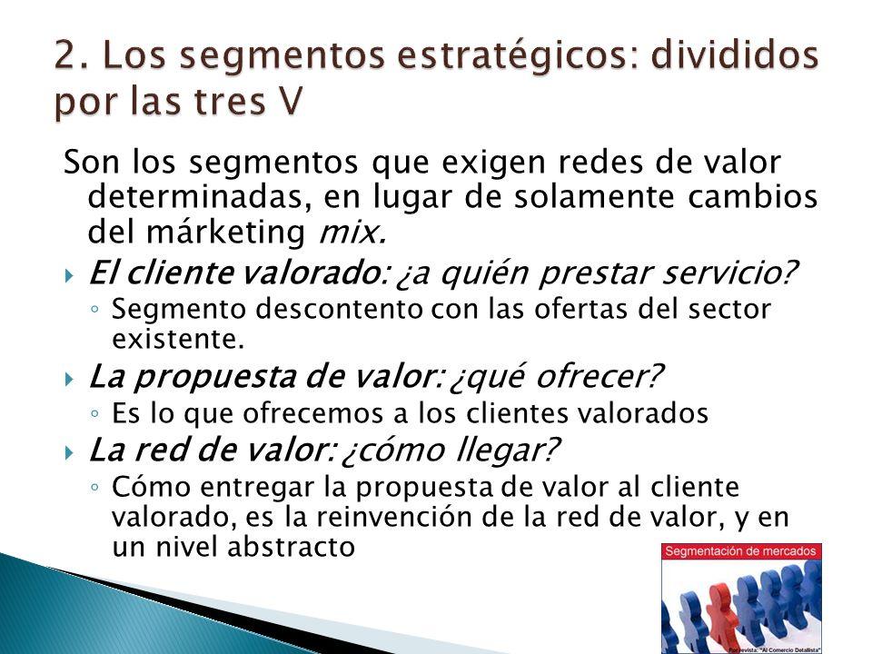 Son los segmentos que exigen redes de valor determinadas, en lugar de solamente cambios del márketing mix.