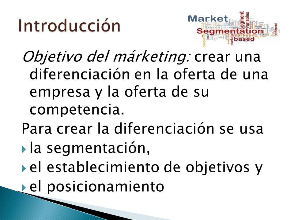 Objetivo del márketing: crear una diferenciación en la oferta de una empresa y la oferta de su competencia.