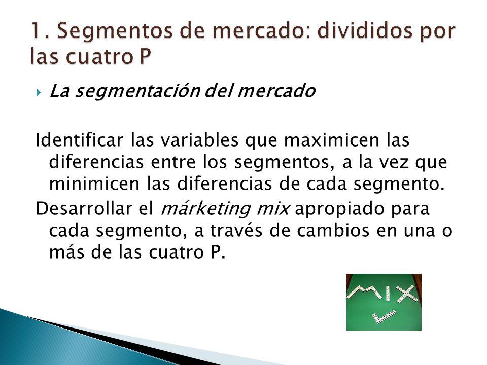 La segmentación del mercado Identificar las variables que maximicen las diferencias entre los segmentos, a la vez que minimicen las diferencias de cada segmento.