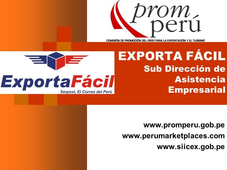 EXPORTA FÁCIL Sub Dirección de Asistencia Empresarial www.promperu.gob.pe www.perumarketplaces.com www.siicex.gob.pe