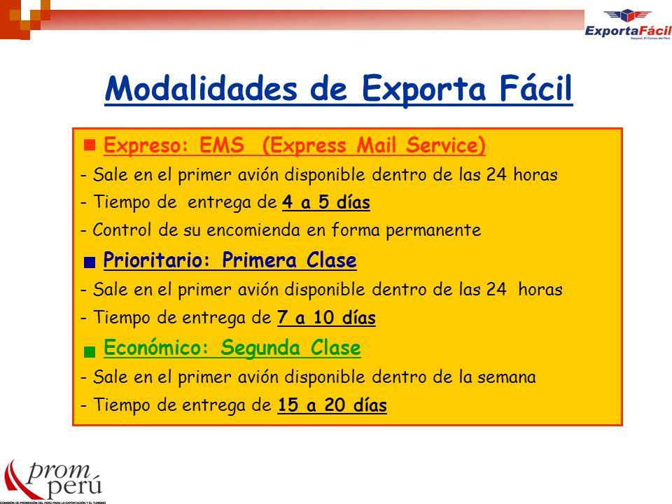 Modalidades de Exporta Fácil Expreso: EMS (Express Mail Service) - Sale en el primer avión disponible dentro de las 24 horas - Tiempo de entrega de 4