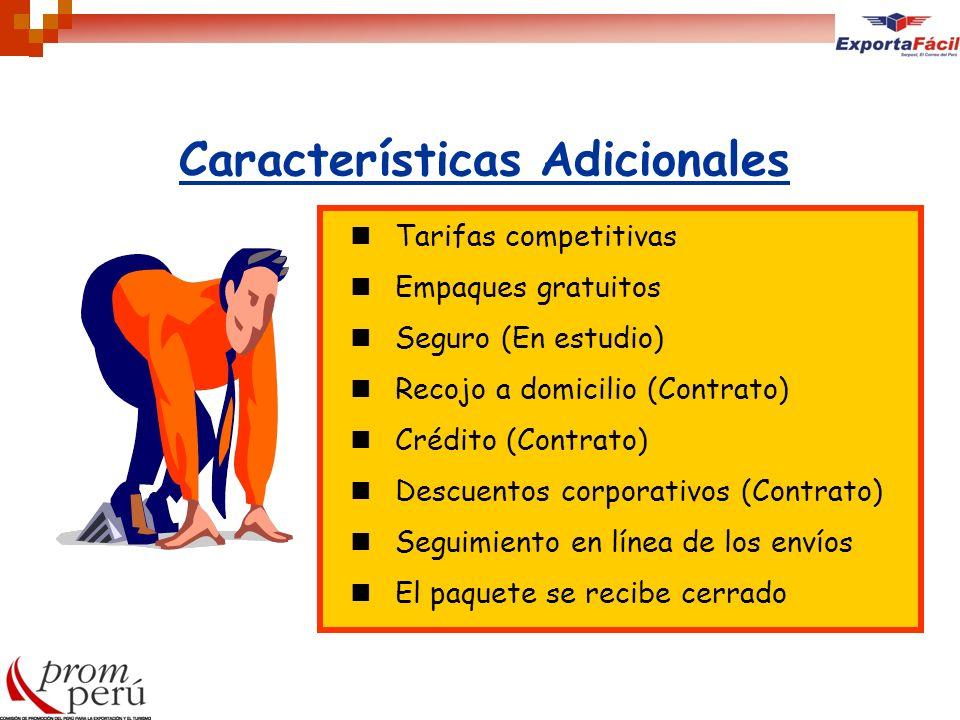 Características Adicionales Tarifas competitivas Empaques gratuitos Seguro (En estudio) Recojo a domicilio (Contrato) Crédito (Contrato) Descuentos co