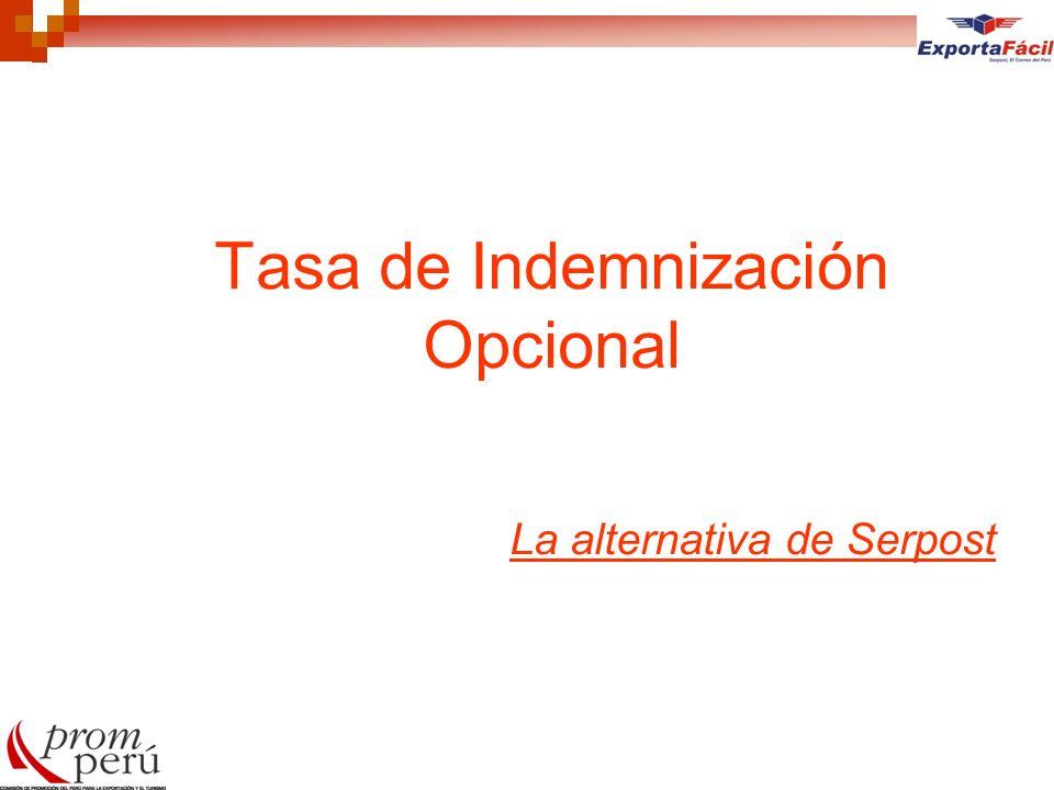 Tasa de Indemnización Opcional La alternativa de Serpost
