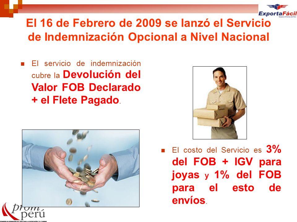 El 16 de Febrero de 2009 se lanzó el Servicio de Indemnización Opcional a Nivel Nacional El servicio de indemnización cubre la Devolución del Valor FO