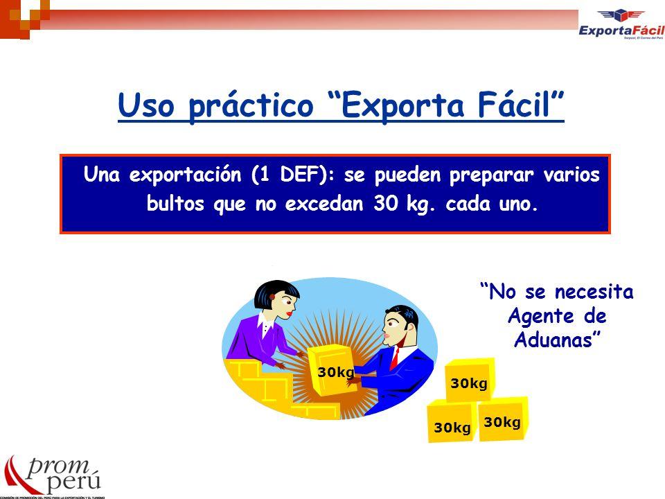 Uso práctico Exporta Fácil Una exportación (1 DEF): se pueden preparar varios bultos que no excedan 30 kg. cada uno. 30kg No se necesita Agente de Adu