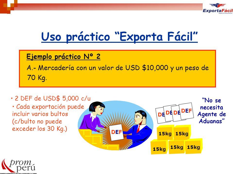 Uso práctico Exporta Fácil Ejemplo práctico Nº 2 A.- Mercadería con un valor de USD $10,000 y un peso de 70 Kg. DEFDEF No se necesita Agente de Aduana