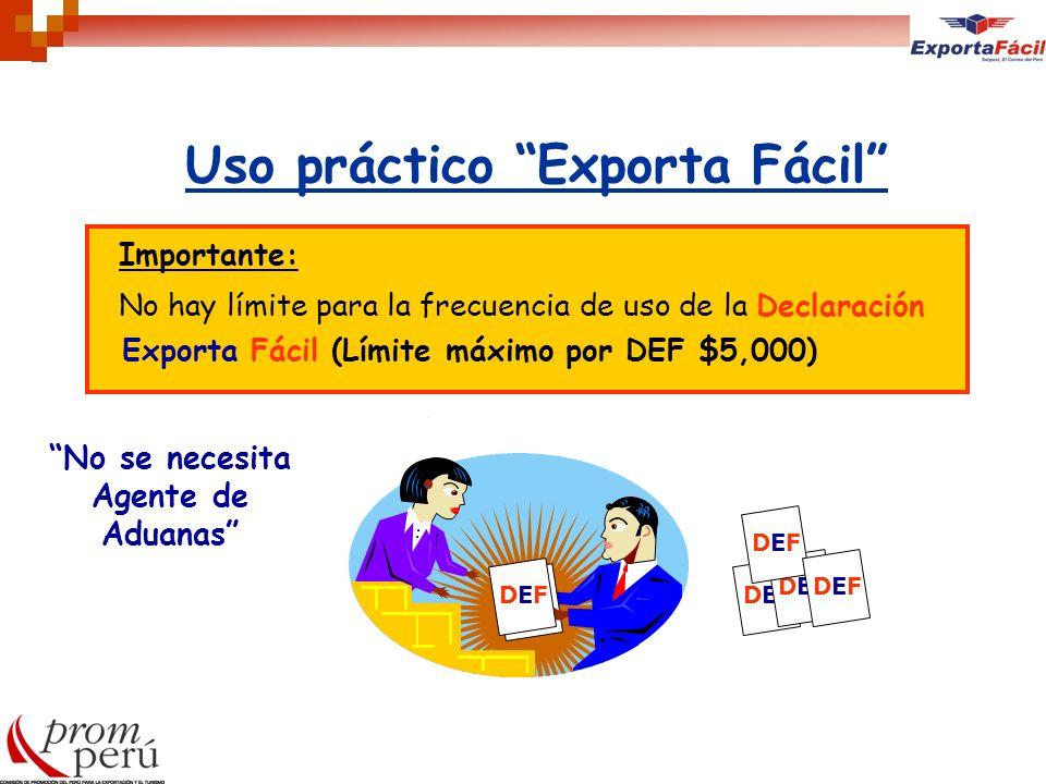 Uso práctico Exporta Fácil Importante: No hay límite para la frecuencia de uso de la Declaración Exporta Fácil (Límite máximo por DEF $5,000) DEFDEFDE
