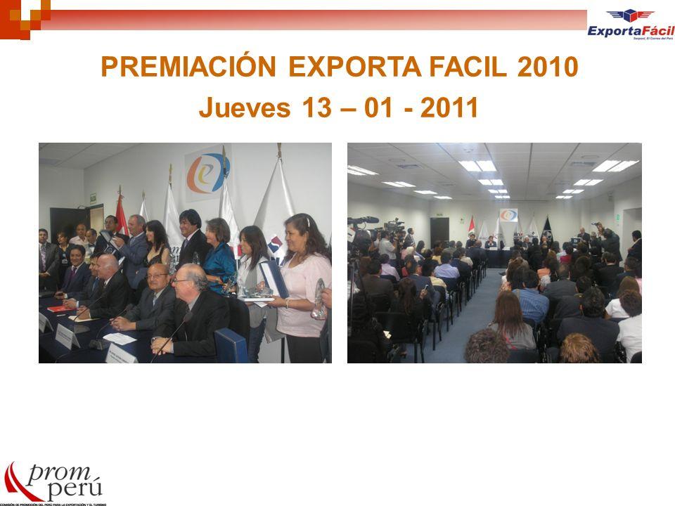 PREMIACIÓN EXPORTA FACIL 2010 Jueves 13 – 01 - 2011