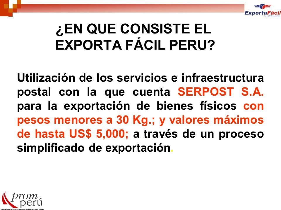 ¿EN QUE CONSISTE EL EXPORTA FÁCIL PERU? Utilización de los servicios e infraestructura postal con la que cuenta SERPOST S.A. para la exportación de bi