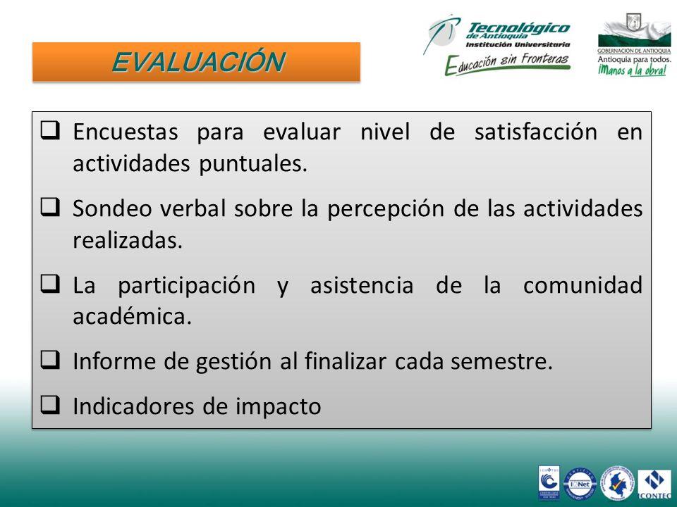 Encuestas para evaluar nivel de satisfacción en actividades puntuales. Sondeo verbal sobre la percepción de las actividades realizadas. La participaci
