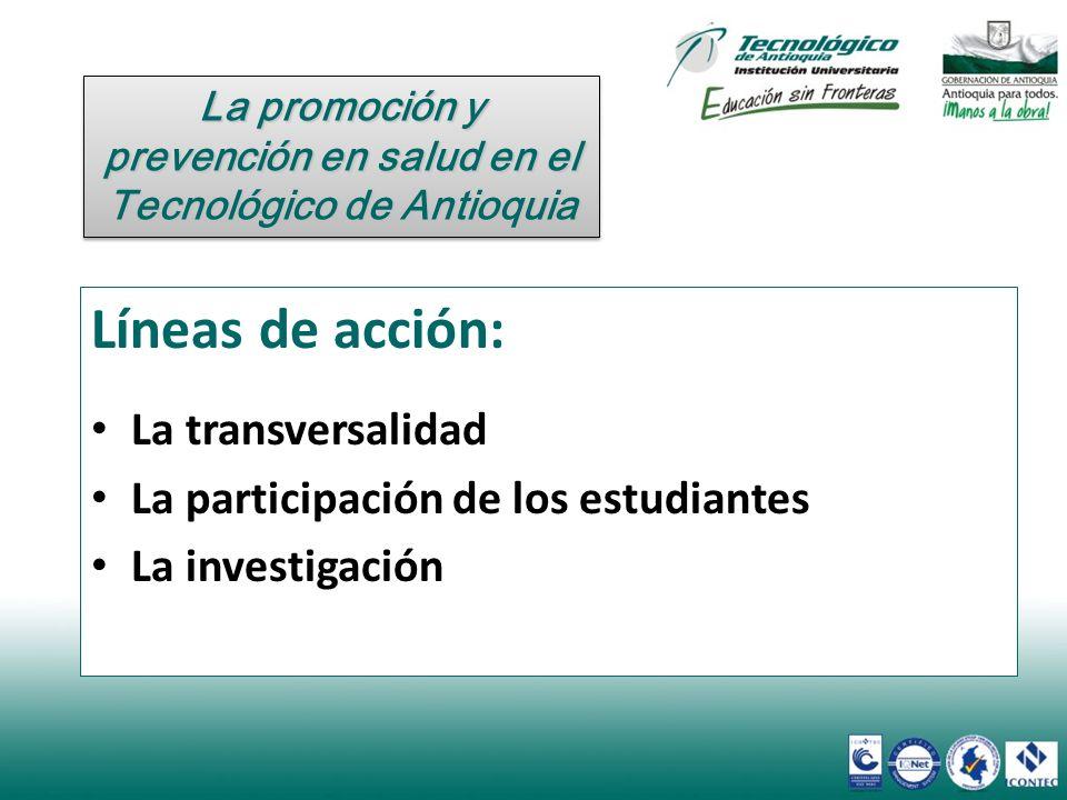 Líneas de acción: La transversalidad La participación de los estudiantes La investigación La promoción y prevención en salud en el Tecnológico de Anti