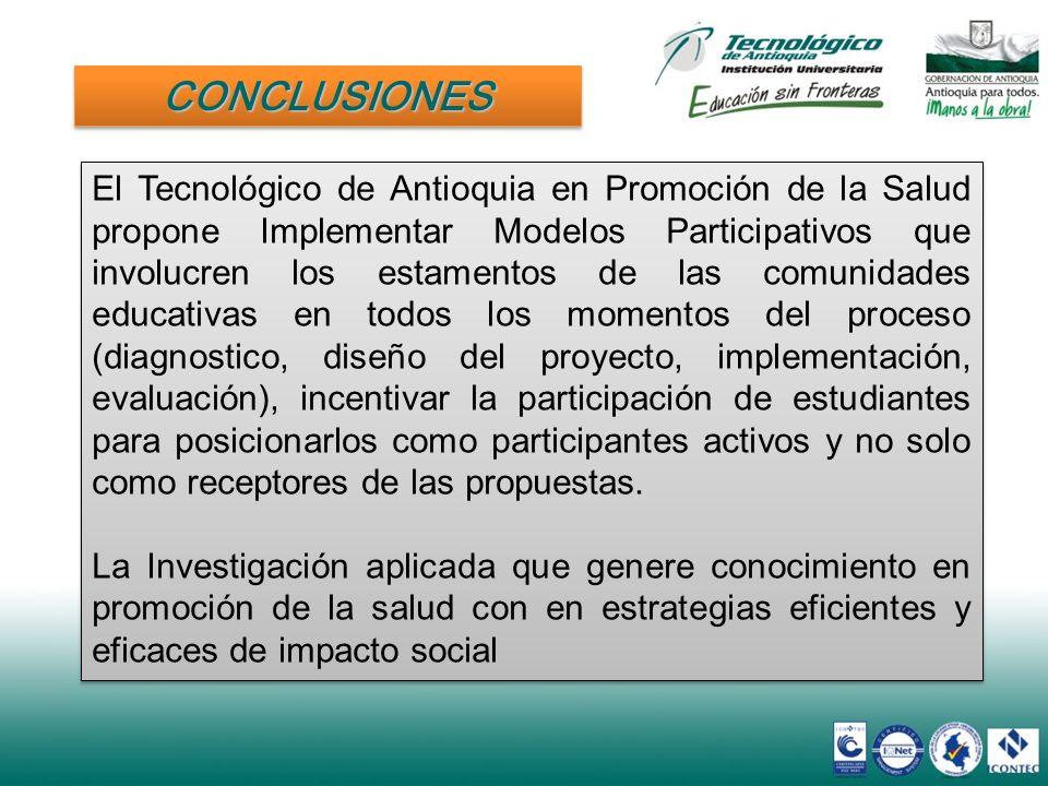 CONCLUSIONESCONCLUSIONES El Tecnológico de Antioquia en Promoción de la Salud propone Implementar Modelos Participativos que involucren los estamentos