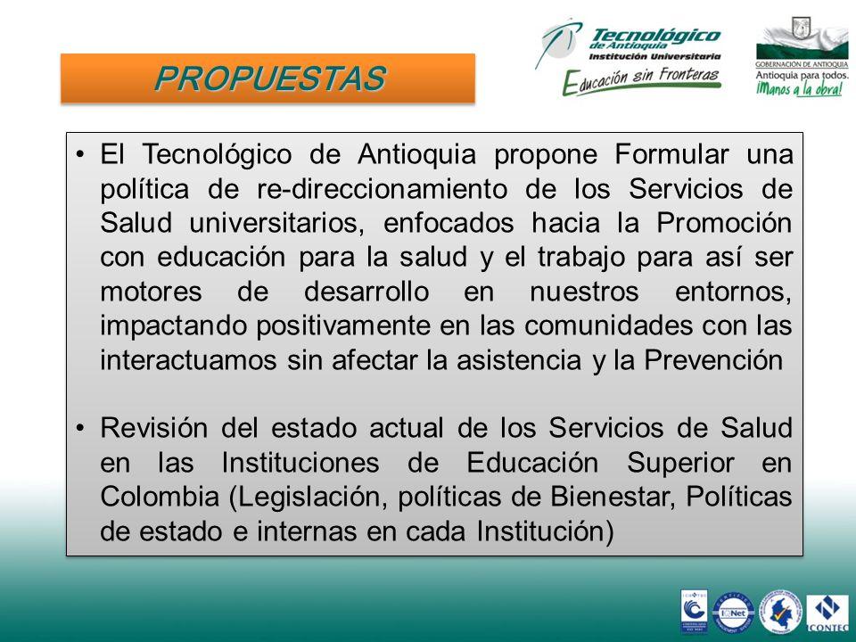 PROPUESTASPROPUESTAS El Tecnológico de Antioquia propone Formular una política de re-direccionamiento de los Servicios de Salud universitarios, enfoca