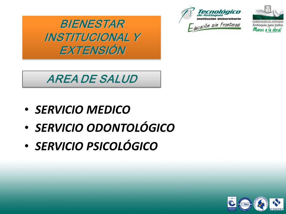 SERVICIO MEDICO SERVICIO MEDICO SERVICIO ODONTOLÓGICO SERVICIO ODONTOLÓGICO SERVICIO PSICOLÓGICO SERVICIO PSICOLÓGICO BIENESTAR INSTITUCIONAL Y EXTENS