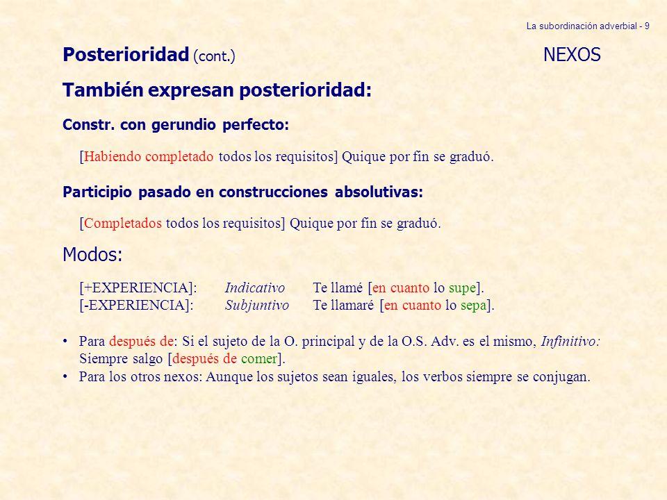 Posterioridad (cont.) NEXOS También expresan posterioridad: Constr. con gerundio perfecto: [Habiendo completado todos los requisitos] Quique por fin s