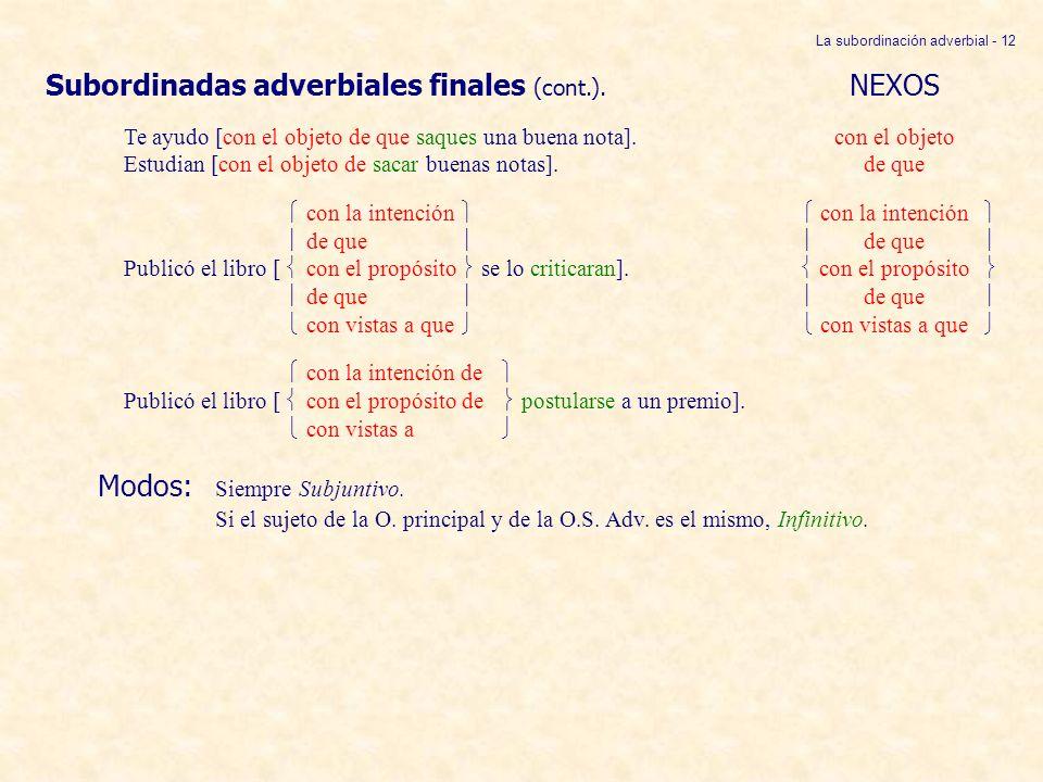 La subordinación adverbial - 12 Subordinadas adverbiales finales (cont.). NEXOS Te ayudo [con el objeto de que saques una buena nota].con el objeto Es