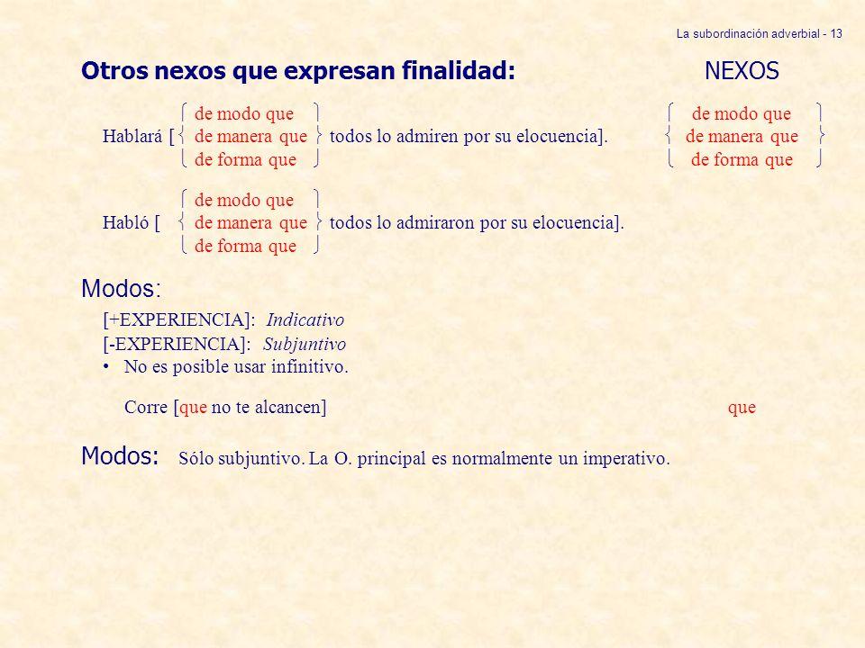 La subordinación adverbial - 13 Otros nexos que expresan finalidad:NEXOS de modo que de modo que Hablará [ de manera que todos lo admiren por su elocu