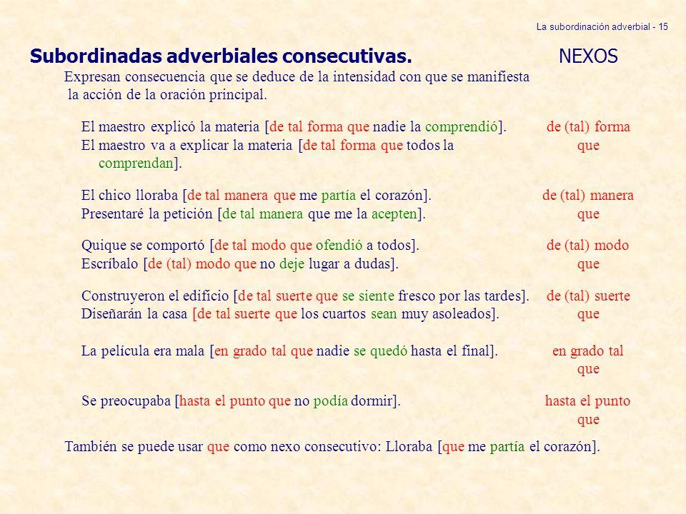 La subordinación adverbial - 15 Subordinadas adverbiales consecutivas. NEXOS Expresan consecuencia que se deduce de la intensidad con que se manifiest