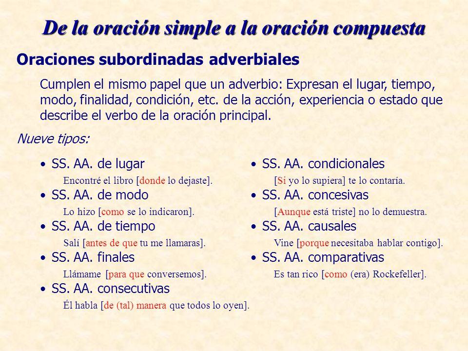 De la oración simple a la oración compuesta Oraciones subordinadas adverbiales Cumplen el mismo papel que un adverbio: Expresan el lugar, tiempo, modo