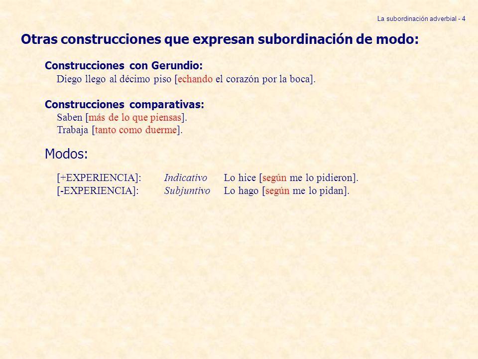 Otras construcciones que expresan subordinación de modo: Construcciones con Gerundio: Diego llego al décimo piso [echando el corazón por la boca]. Con