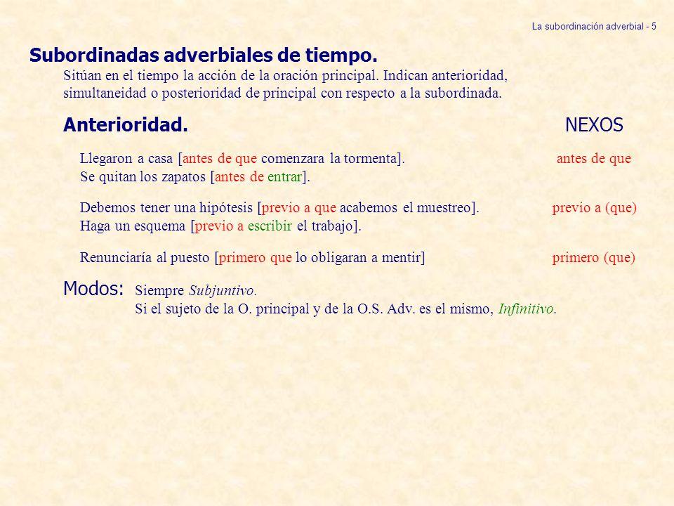 Subordinadas adverbiales de tiempo. Sitúan en el tiempo la acción de la oración principal. Indican anterioridad, simultaneidad o posterioridad de prin