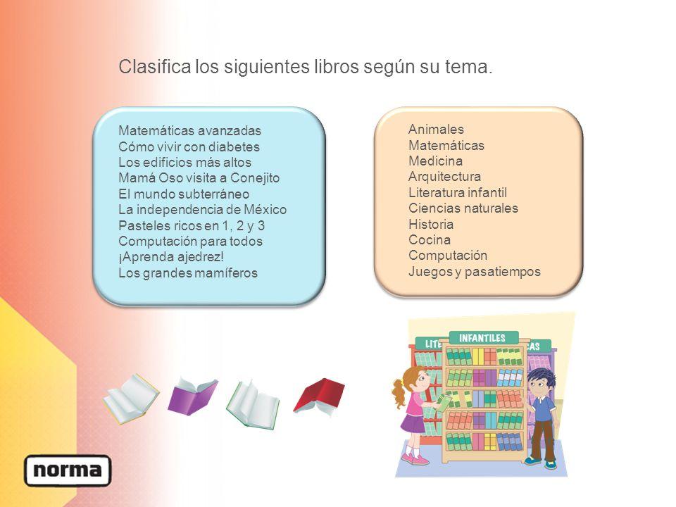 Clasifica los siguientes libros según su tema. Matemáticas avanzadas Cómo vivir con diabetes Los edificios más altos Mamá Oso visita a Conejito El mun