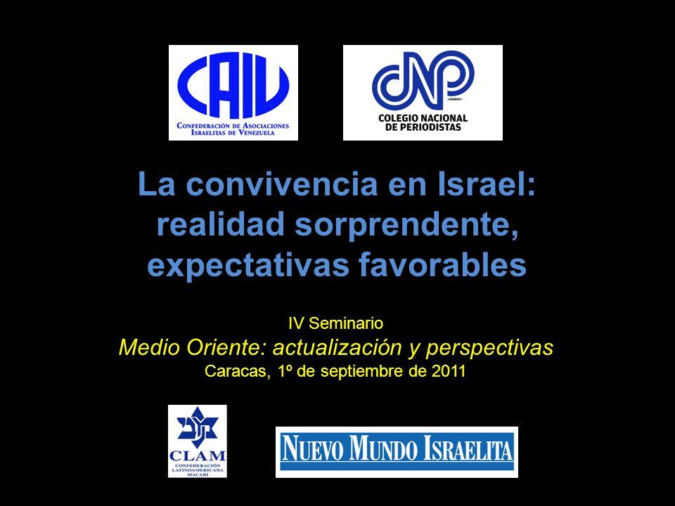 La convivencia en Israel: realidad sorprendente, expectativas favorables IV Seminario Medio Oriente: actualización y perspectivas Caracas, 1º de septi