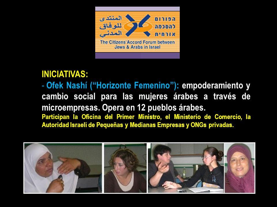 INICIATIVAS: - Ofek Nashí (Horizonte Femenino): empoderamiento y cambio social para las mujeres árabes a través de microempresas. Opera en 12 pueblos