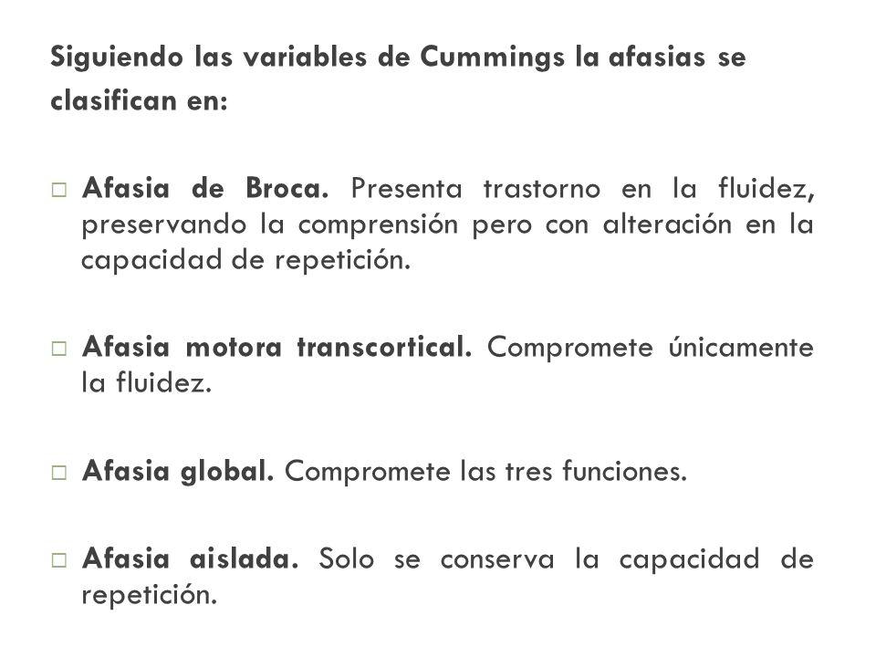 Siguiendo las variables de Cummings la afasias se clasifican en: Afasia de Broca. Presenta trastorno en la fluidez, preservando la comprensión pero co