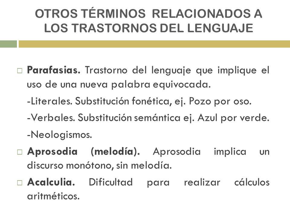 OTROS TÉRMINOS RELACIONADOS A LOS TRASTORNOS DEL LENGUAJE Parafasias. Trastorno del lenguaje que implique el uso de una nueva palabra equivocada. -Lit